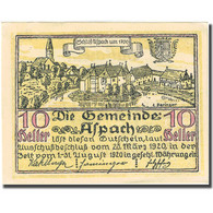 Billet, Autriche, Aspach, 10 Heller, Château, 1920-08-31, SUP+ Mehl:FS 57c - Autriche