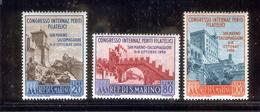 SAN MARINO 1956 Intl. Philatelic Cong. Overprints Scott Cat. No(s). 386-388 MH - Unused Stamps