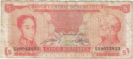 Venezuela 5 Bolívares 21-9-1989 Pk 70 B Serie De 8 Nºs Y Firmas En Verde Ref 16 - Venezuela