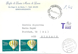 "Taxierter Brief  ""Figlie Di Santa Maria Di Leuca, Genova"" - Sissach           1979 - Switzerland"