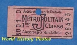 Ticket Ancien De Métro - S 001 0 -  1er Classe - J - Métropolitain - Billet Individuel N° 28443 - Paris - Europe