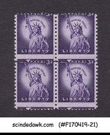 UNITED STATES 1954-68 3c SCOTT#1035 STATUE OF LIBERTY BLK -4 MNH MISPERF ERROR - United States