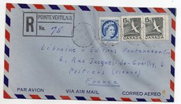 Canada -- 1960 --Lettre Recommandée  De POINTE VERTE  Pour POITIERS-86 (France)--timbre--cachets -- - 1952-.... Regno Di Elizabeth II