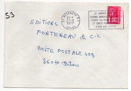 """1977--lettre De BESANCON-25 Pour POITIERS-86 --flamme Temporaire"""" Follereau- Aide Aux Lépreux"""" - Marcophilie (Lettres)"""