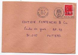 """1972--lettre De NICE-06 Pour POITIERS-86 --flamme Temporaire"""" 3ème Expo Timbres De La Libération- ( De Gaulle)"""" - Marcophilie (Lettres)"""