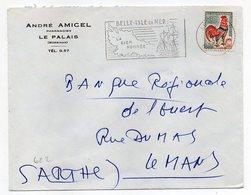 1963--lettre De LE PALAIS-56 Pour LE MANS-72 --flamme BELLE ISLE EN MER--personnalisée Pharmacien - Marcophilie (Lettres)