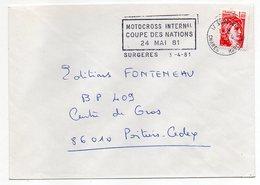 """1981--lettre De SURGERES-17 Pour POITIERS-86 --flamme Temporaire""""MOTOCROSS INTERNATIONAL-Coupe Des Nations 81"""" - Marcophilie (Lettres)"""