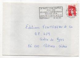 """1980--lettre De PARTHENAY--79 Pour POITIERS-86 --flamme Temporaire""""3ème Pacte Emploi-ANPE"""" - Marcophilie (Lettres)"""