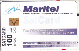 GREECE - MARITEL Satellite Card 100 Units, Tirage 30000, 12/02, Mint - Boats