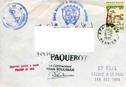 """ENV. De 1995 Ayant Voyagé Sur """"MARION DUFRESNE"""" Au Départ De """"REUNION"""" Le 8-12-1995 - France"""
