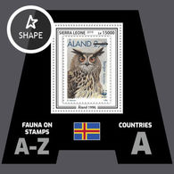 Sierra Leone 2019 Mih. 10485 (Bl.1626) Fauna. WWF Stamps On Stamps. Aland. Birds. Eurasian Eagle-Owl MNH ** - Sierra Leone (1961-...)