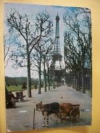 B21 1521 CPSM GM 1963 - 75 PARIS. LA TOUR EIFFEL- ANIMATION ATTELAGE DE CHEVRE. - Tour Eiffel