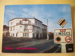 """B21 1561 CPM - 87 LIMOGES. HOTEL RESTAURANT DE L'AEROPORT """"AU BELVEDERE"""" 264 ROUTE DE TOULOUSE. PROPRIETAIRE SAGNE. - Limoges"""