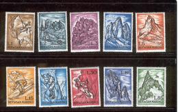 SAN MARINO 1962 Mountains And Mountaineers Scott Cat. No(s). 519-528 MNH - San Marino