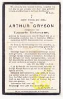 DP Arthur Gryson ° Voormezele Ieper 1872 † 1929 X Lazarie Debruyne - Images Religieuses