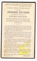 DP Jérome Gryson ° Voormezele Ieper 1877 † 1930 X Zulma Geldof - Images Religieuses