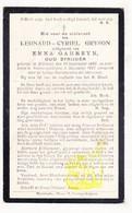 DP Leonard C. Gryson ° Zillebeke 1886 † Voormezele 1927 X Emma Garreyn / Ieper - Images Religieuses