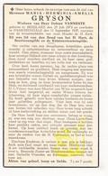 DP Maria H. Gryson ° Beselare 1873 † Passendale 1937 X Dokter Vanneste / Zonnebeke - Images Religieuses