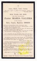 DP EZ Maria Virginia M. Goossens - Zr. Valesia 23j. ° Kampenhout 1897 † Klooster Huldenberg 1921 - Images Religieuses