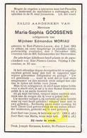 DP Maria S. Goossens ° St.-Pieters-Leeuw 1901 †  1936 X Edm. Moriau - Images Religieuses