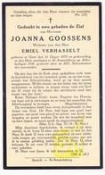 DP Joanna Goossens ° Gent 1870 † St.-Amandsberg 1938 X Emiel Verhasselt - Images Religieuses