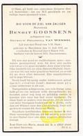 DP Benoit Goossens 32j. ° Merchtem 1905 † Brussel 1938 X Philomena Van Wemmel - Images Religieuses