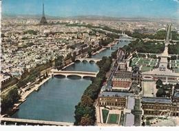 France Paris Aerial View Postcard Paris Du Louvre 1987 Postmark And Slogan Used Good Condition - Sacré Coeur