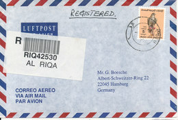 UAE Dubai Registered  Air Mail Cover Sent To Germany Riqa 24-3-1996 Single Franked - Dubai