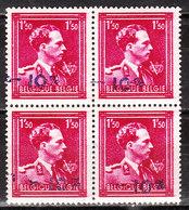724N**  Leopold III Col Ouvert Surchargé -10% - Bloc De 4 - OUDENAARDE - MNH** - LOOK!!!! - 1946 -10%