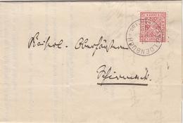 ALLEMAGNE LAC 1892 WALDENBUCH SUR TIMBRE SERVICE N°10 DU WURTEMBERG LETTRE AVEC CORRESPONDANCE - Wurttemberg