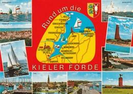 AK Kiel, Rund Um Die Kieler Förde - Cartes Géographiques