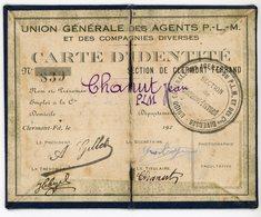PUY DE DOME 192? CARTE IDENTITE UNION DES AGENTS SNCF CLERMONT FERRAND PLM 192?. PETIT FORMAT CARTONNE OUVERT 12,5 X 10 - Documents Historiques