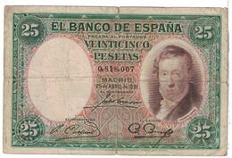 Billet, Espagne, 25 Pesetas, 1931, 1931-04-25, KM:81, B - [ 2] 1931-1936 : Republiek