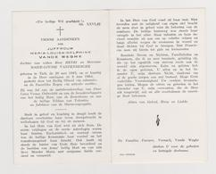 DOODSPRENTJE VANDE WEGHE MARIA-LOUISA-DELPHINE TIELT (1885 - 1964) - Images Religieuses