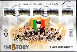 Italia 2016 Juventus Campione Foglietto 5 Valori Annullo Filatelico - Blocs-feuillets