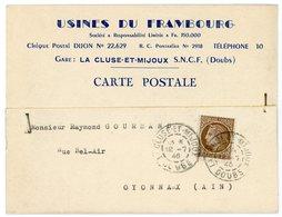 DOUBS IMPRIMES 1946 LA CLUSE ET MIJOUX TYPE DE 1884 UTILISATION TRES TARDIVE - Marcophilie (Lettres)