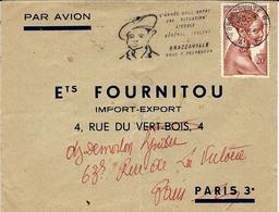 """1956- Enveloppe De Brazzaville Avec Flamme Illustrée """" L'Armée Et L""""Ecole GENERAL LECLERC - Lettres & Documents"""