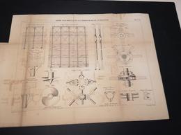 ANNALES DES PONTS Et CHAUSSEES (Etats-Unis) - Plan D'une Jetée Sur Pieux De La Delaware  - Graveur E.Pérot 1884 (CLF31) - Máquinas
