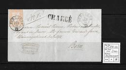 1854-1862 Helvetia (Ungezähnt) Strubel → CHARGÉ, Rundstempel BURGDORF (Amtsgericht) ►SBK-25B4.Vb◄ - Covers & Documents