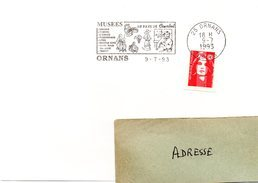 DOUBS - Dépt N° 25 = ORNANS 1993 = FLAMME SECAP  Illustrée  'Au Pays De COURBET / Musées ' - Marcophilie (Lettres)