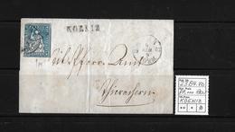1854-1862 Helvetia (Ungezähnt) Strubel → Balkenst. KOENIZ, Rundstempel BERN  ►SBK-23B4.Vb◄ - 1854-1862 Helvetia (Non-dentelés)