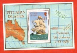 Pitcairn Islands 1988. Block.The 200th Anniversary Australien Settlement.Unused Stamp. - Ships