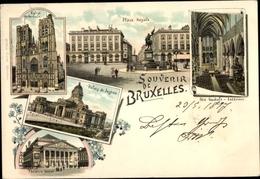 Lithographie Bruxelles Brüssel, Place Royale, Palais De Justice, Theatre Royal, Ste. Gudule, Kirche, Innen - Brussels (City)