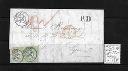 1854-1862 Helvetia (Ungezähnt) Strubel → P.D / Rundstempel MORGES  ►SBK-26B4.Va Im Paar◄ - 1854-1862 Helvetia (Imperforates)