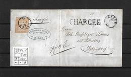 1854-1862 Helvetia (Ungezähnt) Strubel → CHARGEE / Fingerhutst. BADEN (Fürsprech F.Bürli) ►SBK-25B4.V◄ - 1854-1862 Helvetia (Non-dentelés)