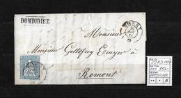 1854-1862 Helvetia (Ungezähnt) Strubel → Balkenst. DOMDIDIER, Rundst. MORAT►SBK-23B3.IV/V◄ - Covers & Documents