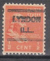 USA Precancel Vorausentwertung Preo, Locals Illinois, Lyndon 621 - Vereinigte Staaten