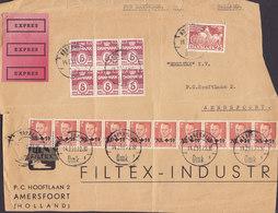 Denmark 3x EXPRES Labels KØBENHAVN Omk. (*1.) 14.2.1953 Cover Brief (Front ONLY !!) Dutch Hochwasserhilfe 10-Stripe ! - Dänemark