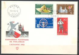 LIQUIDATION TOTALE : 1955 - TRES BELLE LETTRE Avec TRES BEL AFFRANCHISSEMENT (SERIE COMPLETE) - PREMIER JOUR - Suisse