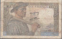 """Billet 10 Francs """"mineur"""" En Moyen Etat_voir Scan. - 1871-1952 Circulated During XXth"""
